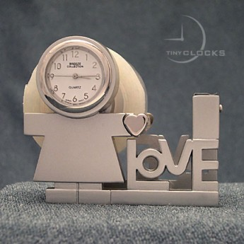 I LOVE YOU YOU TAPE DISPENSER MINI CLOCK w/ Child & Heart